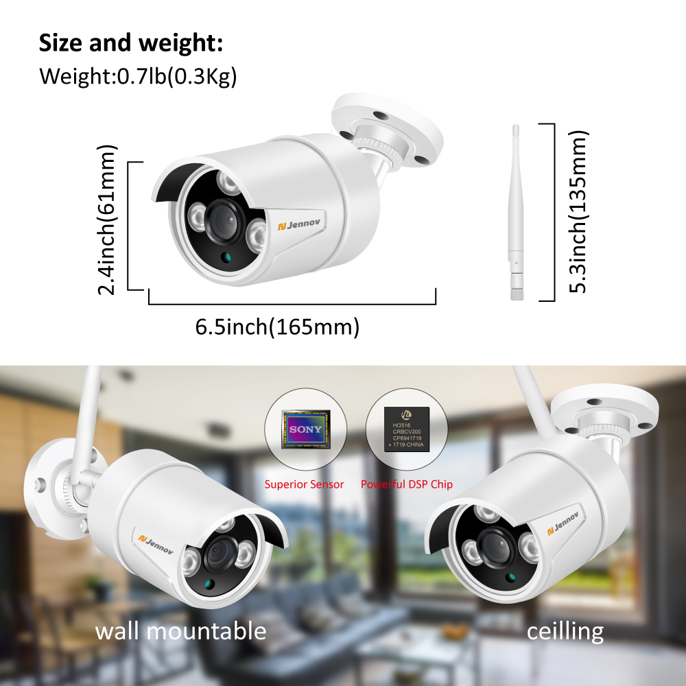 Jennov 8CH 1080P 2MP Security Camera System Wifi Video Surveillance Kit IP Camera Wireless NVR CCTV Kit Audio System P2P HDMI-in Surveillance System from Security & Protection    3