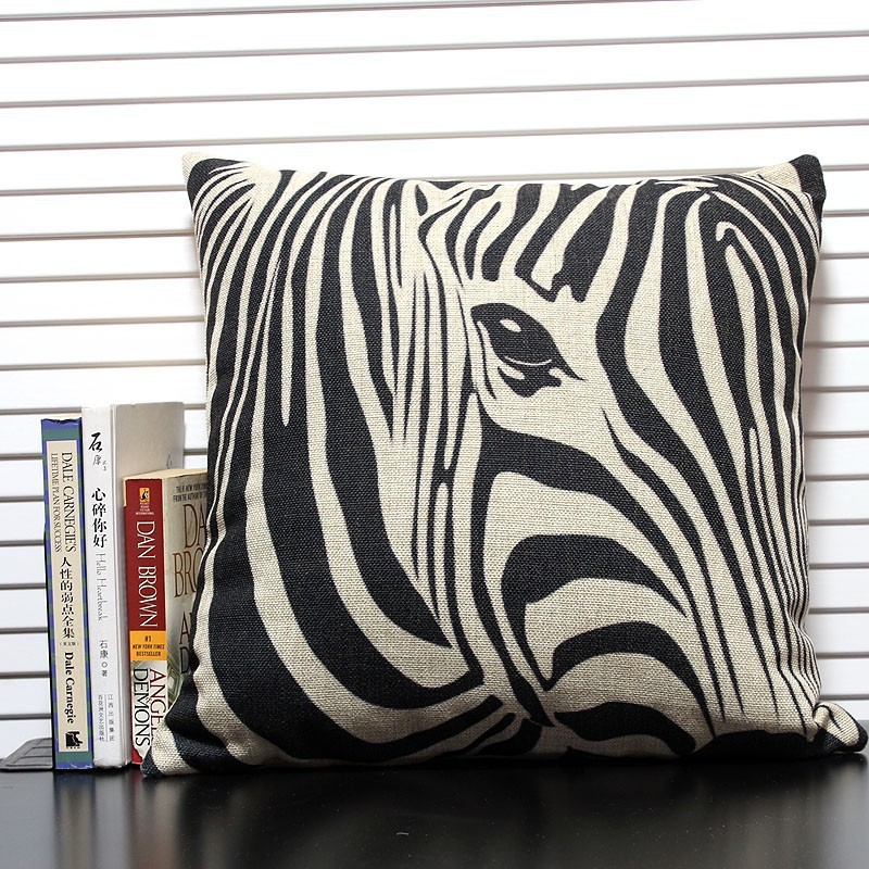 The Pillow Collection 18 Square Dristi Zebra Print Throw Contemporary Decorative Pillows