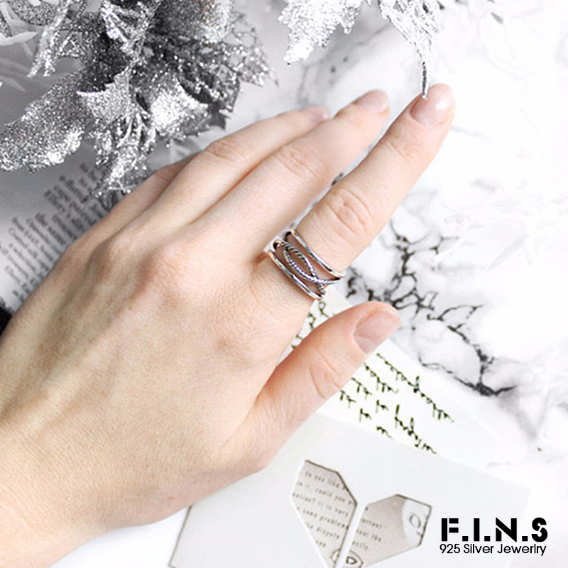 F.I.N.S Wave Open Cuff Rings for Women Engagement Ring Men Trendy Retro Female Custume Jewelry Statement Finger Rings