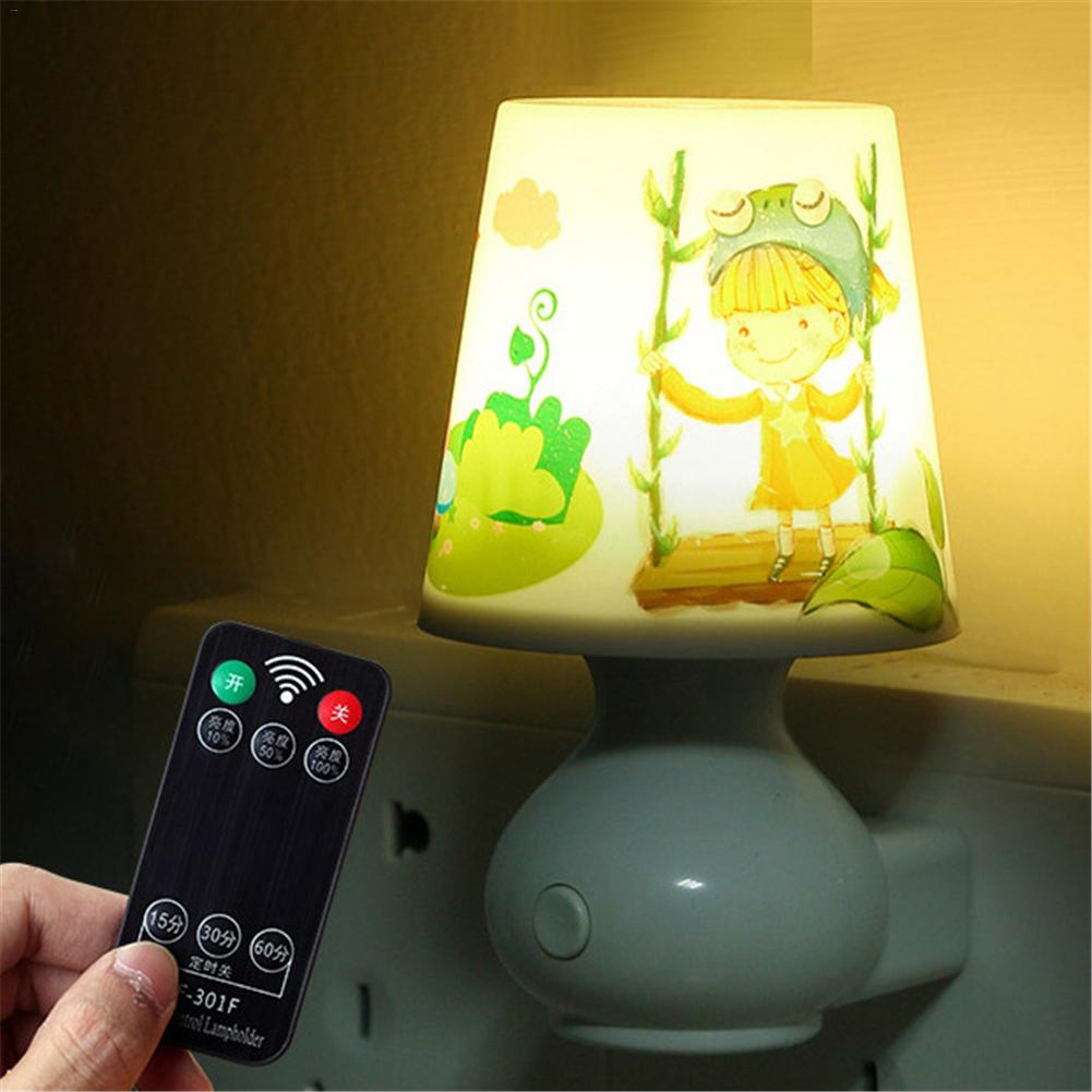 Led Night Light Lamp 0.5W AC110V White/Warm White With Remote Control Dimmer Baby Nightlight For Children Bedroom Passageway