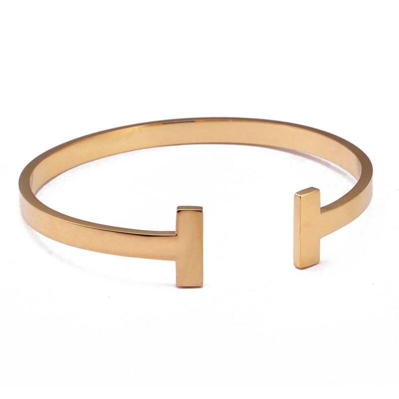 Elegant Open Cuff Bracelets & Bangle For Women Men Jewelry Luxury Gold Color High Quality Steel Bracelet Cuff Bracelet For Gift