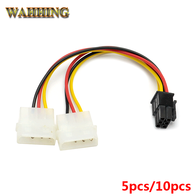 5pcs 10pcs New 2 x Molex To PCI-E Power Adapter 4Pin 4 Pin 6 Pin 6Pin Graphics Video Card Converter Cable HY261 graphics connection power supply cable cpu molex 8pin to 2 pci e 8 6 2 pin graphics card connector internal cable power splitter
