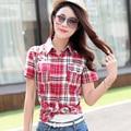 Плюс Размер Клетчатую Рубашку Женщин 2016 Осень Корейский Стиль Новая Мода Воротник Рукав Рубашки Женщины Повседневная Хлопок Белье Блузки Топы