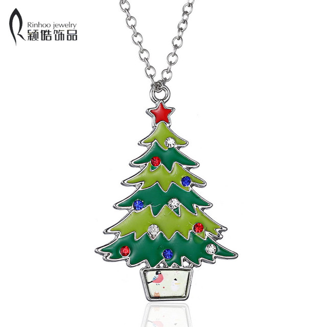 Enamel christmas tree necklace Pendant crystal rhinestone Necklace new year  gift ornaments Necklaces Painting oil accessories - Enamel Christmas Tree Necklace Pendant Crystal Rhinestone Necklace