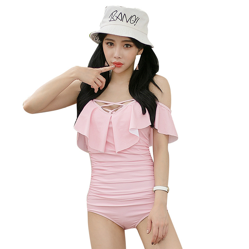 Cheap Sexy Bathing Suits May Beach Girls Bikinis Women Woman One-Piece Swimsuit 2017 Korean New Leaf Lace Pink Bayan Mayo Traje one piece swimsuit cheap sexy bathing suits may beach girls large size swimsuits 2017 swim suit ladies high waist new underwire