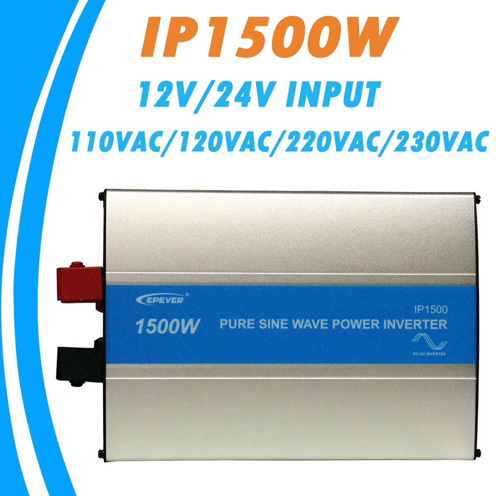 EPever <font><b>1500W</b></font> Pure Sine Wave <font><b>Inverter</b></font> 12V/24V Input 110VAC 120VAC 220VAC 230VAC Output 50HZ 60HZ High Efficiency Converter IPower image