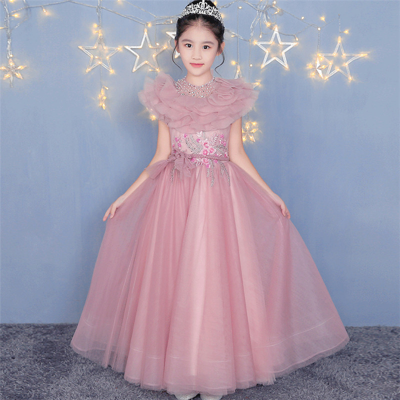 2018 Elegant Children Girls Birthday Evening Party Princess Long Dress Model Show Catwalk Kids Piano Pageant