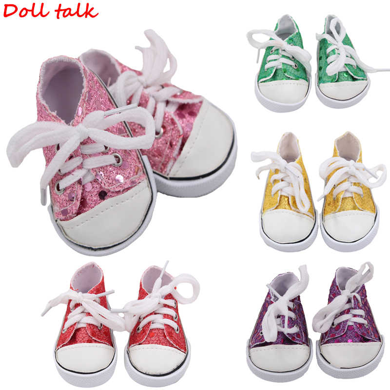 Doll Shoes Hot Sale Popular Canvas Shoes For Girl Dolls 7.5cm Handmade Sneakers With Sequin Shoes For Baby Doll Accessories