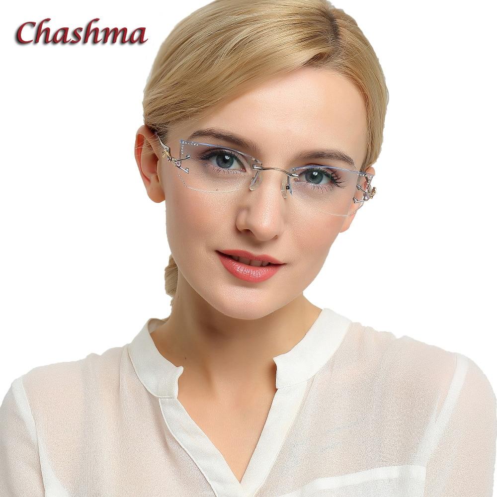 Chashma Brand Tint Lenses Sunglasses Titanium Eyewear Female Diamond Crystal Trimmed Glasses Frame Cat Eye Rimless