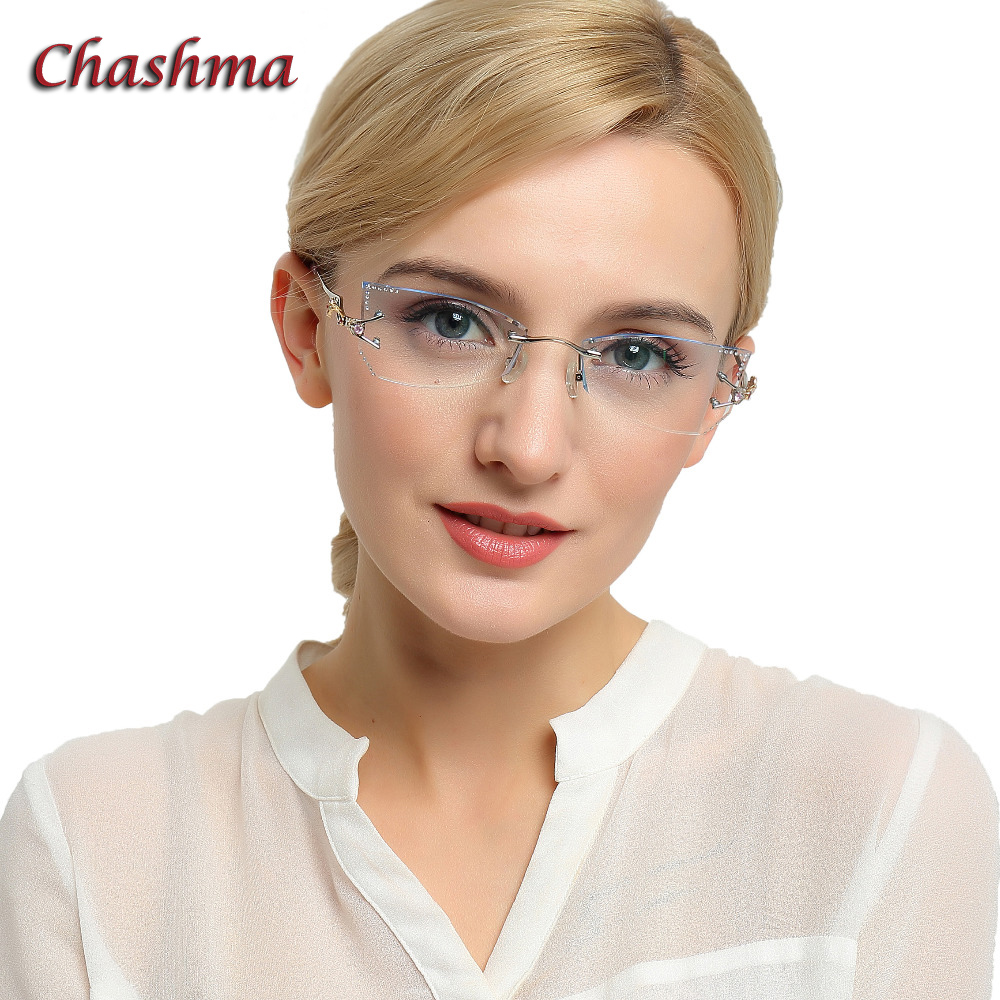 Chashma marque teinte lentilles lunettes de soleil lunettes en titane femme diamant cristal taillé lunettes cadre oeil de chat sans monture lunettes femme