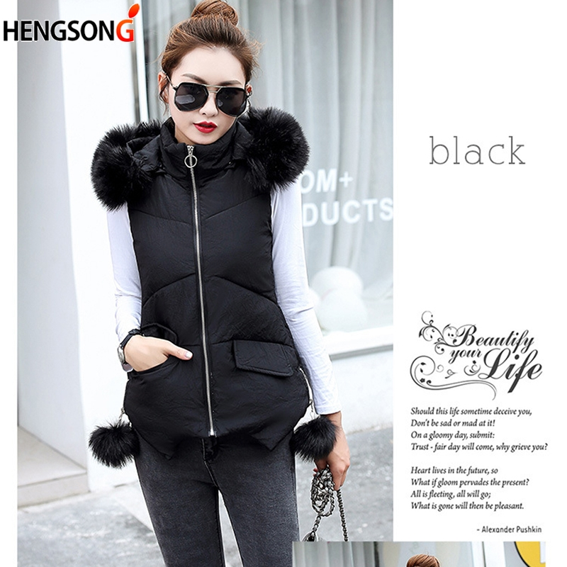 M-XXL fit Brand Women Vest New Big Fur Collar Sleeveless Jacket Vest Female Warm Hooded  Autumn Winter Coat Waistcoat Female