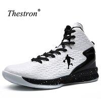 Thestron deporte Zapatos para hombres cuero Zapatillas de Baloncesto niños antideslizante mujer Zapatillas de baloncesto barato mens sneakers Baloncesto Tops