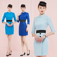 Uniform Flight Attendant Business Dress Work Wear Beautician Uniforms Dresses Airline Stewardess Flight Attendant Uniform DD2088