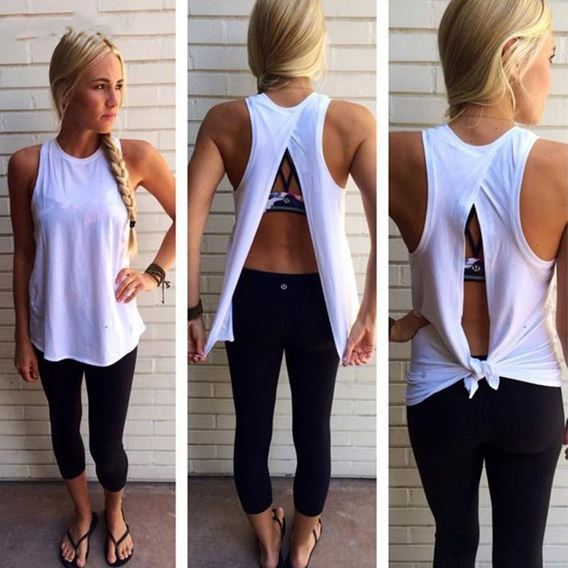 1pc New   Tank     Top   Irregular Summer   Tops   Sexy Women Back Split T-Shirts Sleeveless   Tank   O Neck Camis White Femme Tees