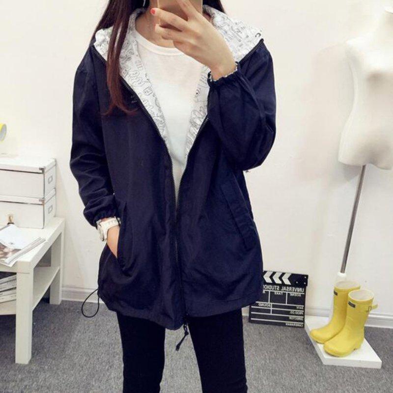 Women Autumn Bomber   Basic     Jacket   Pocket Zipper Hooded Two Side Wear Cartoon Print Outwear Loose Black Pink   Jackets