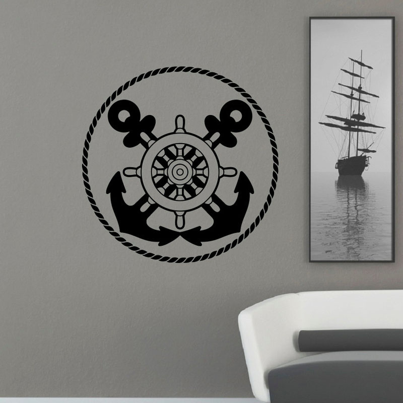 <font><b>Nautical</b></font> Anchor Ship Wheel Wall Stickers Living Room Removable <font><b>Home</b></font> <font><b>Decor</b></font> Vinyl Wall Decals Circle Shape