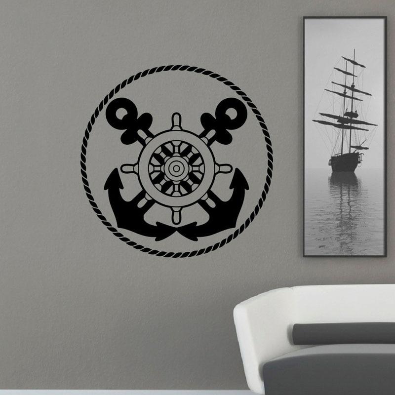 <font><b>Nautical</b></font> Anchor Ship Wheel Wall Stickers Living Room Removable <font><b>Home</b></font> <font><b>Decor</b></font> Vinyl Wall Decals Circle Shape