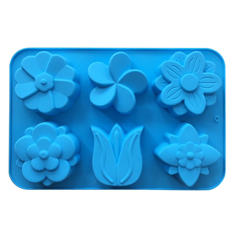 6 Cavity DIY Handmade Soap Making Molds Silicone Blue Green Fondant Moulds Flower Sugar Craft Molds for Home Kitchen Bakeware