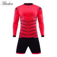 New Men Soccer Jerseys Sets Adults Survetement Long Sleeve Football Jerseys Kits Sports Training Suit maillot de foot Customs