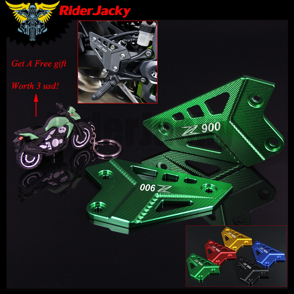 RiderJacky Motorcycle CNC Aluminum Foot Peg Protector Heel Protective Cover Guard For Kawasaki Z900 2017 2018 Z 900 17 18 cnc aluminum motorcycle accessories front brake disc caliper protector cover for kawasaki z900 z 900 2017 brake caliper guard