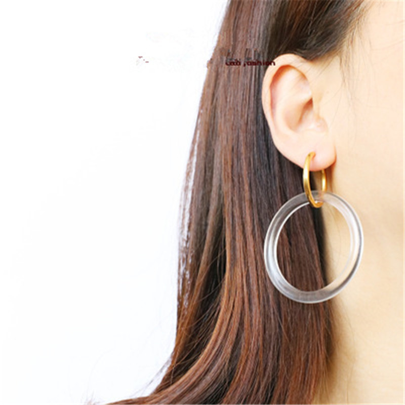 Europe America INS Simple Acrylic Hyperbolic Exaggerated Round Circle Geometric Hoop Earrings Fashion Jewelry LYD5 in Hoop Earrings from Jewelry Accessories