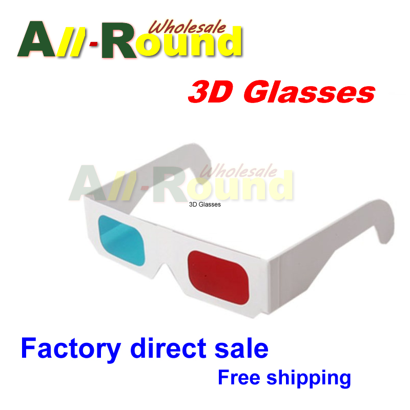Free shipping Wholesale 10000pcs/lot, red/blue 3d glasses,white paper red / cyan 3d glasses