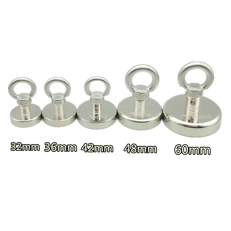 120KG Pulling Pot Magnet Diameter 16-60mm Lifting Magnet Lathed Clamping A3 Steel Cup Neodymium Fishing Magnet Deep Sea Salvage 1 pack mounting magnet diameter 12 mm clamping pot magnet with steel hook neodymium lifting magnet strong magnet lathed cup