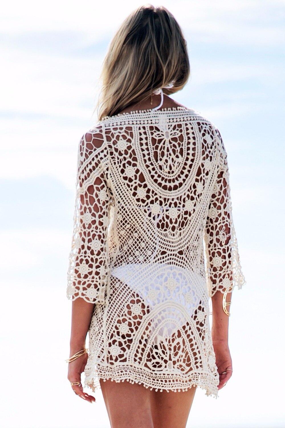 New 2018 Women Sexy Bikini Swimwear Cover Up Beach Dress Lace Shirt Hollow out Backless Jumpsuits Beachwear 1