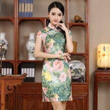 Thin  Short Flower Cheongsam Chinese Vintage  Style Sexy Female Qipao Dress Cotton Mandarin Collar Size M L XL XXL JY067-2