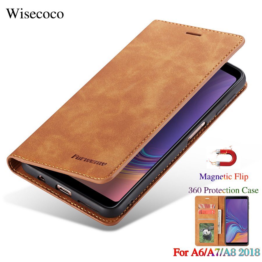 Flip Leather Case for Samsung Galaxy A6 A7 A8 2018 Luxury Magnetic Wallet Stand Card Slot Holder Book 360 Cover for Samsung A750