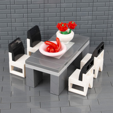 City Accessories MOC Bricks Desk Table Chair Flower Sausages For Home Building Blocks Furniture DIY Toys Children Gifts C048