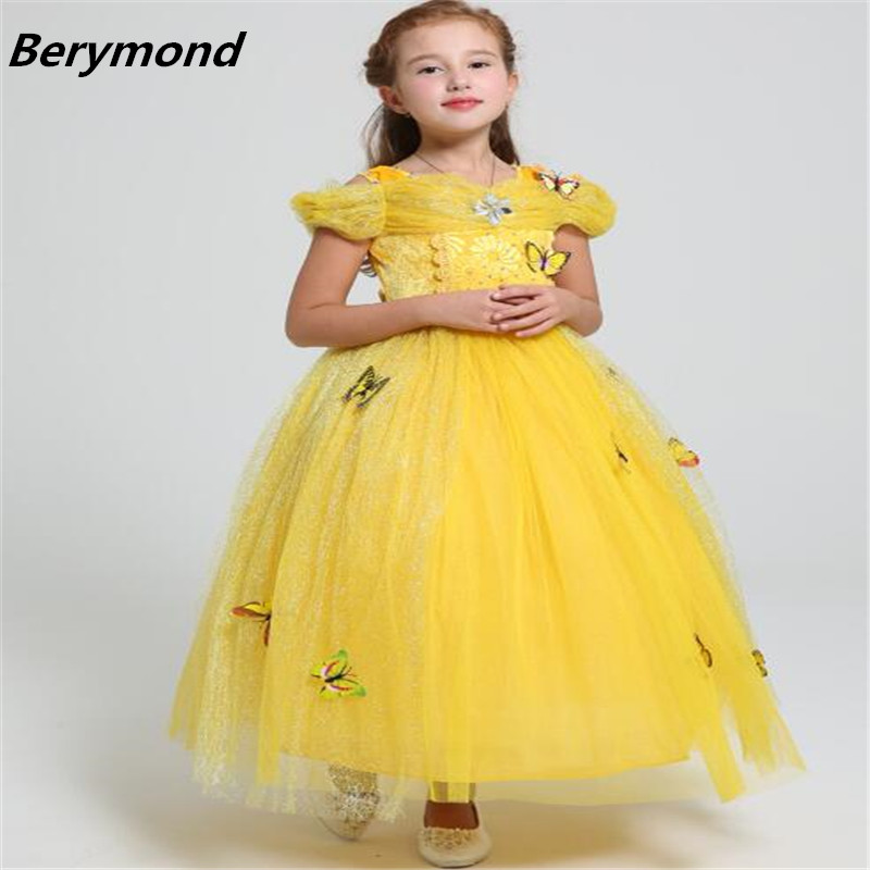 Girls Ball Gown Belle Princess Dress Baby Kids Fancy Party Christmas Halloween Costumes Beauty Beast Cosplay Dress Flowers