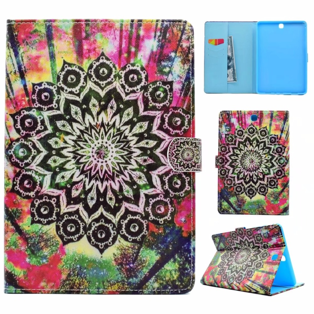 Fashion Painted Wake/Sleep Flip PU Leather Smart Case For Samsung Galaxy Tab A 9.7 SM-T555 T550 P555 Case Cover Tablet Shell
