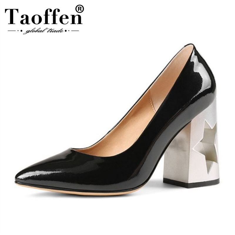 Taoffen Sexy Pointed Toe Women Pumps Genuine Leather Slip On High Heels Shoes Office Ladies Party