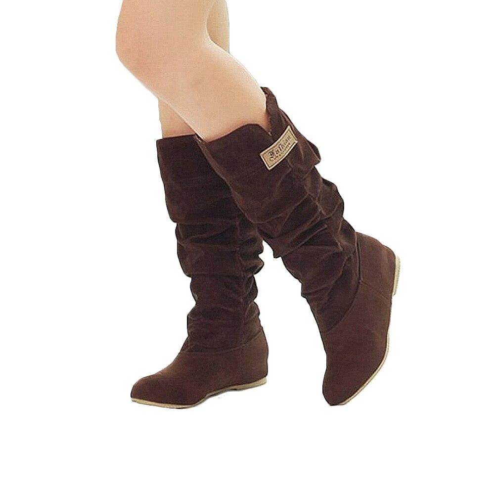 De Zapatos 2018 Talons Taille Tube Femmes mollet Neige Mi Hiver noir 35 Chaud Wedge Flock 43 Fourrure Mujer Khaki Bottes marron Botas Martin Plus qZ7wx4qF
