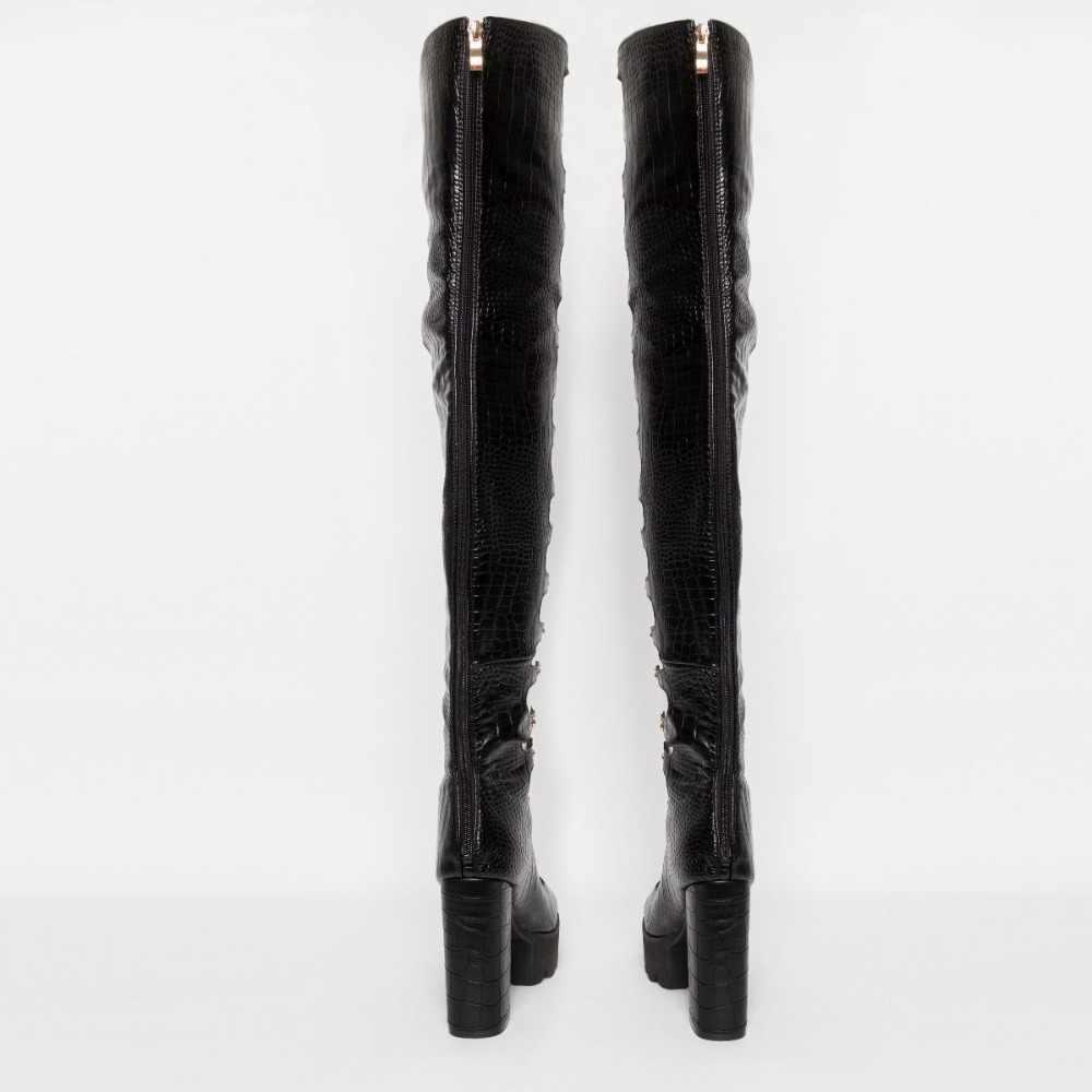 Perixir Kadın Çizmeler Çapraz bağlı PU Deri Yüksek Topuk Çizme Diz Lace Up Çizmeler Seksi kadın ayakkabısı