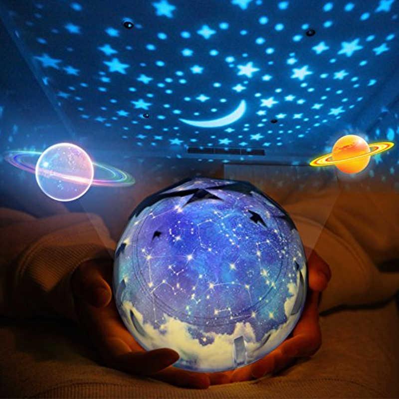 Светодиодный ночник, лампа для детей с питанием от аккумулятора, звездное небо, Волшебная звезда, Луна, планетарный проектор, лампа Usb, подсветка для детской комнаты, подарок на день рождения