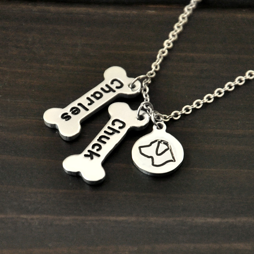 Bone Charm Dog Necklace Pet Memorial Gift Labrador necklace Personalized Dog Lover Gift