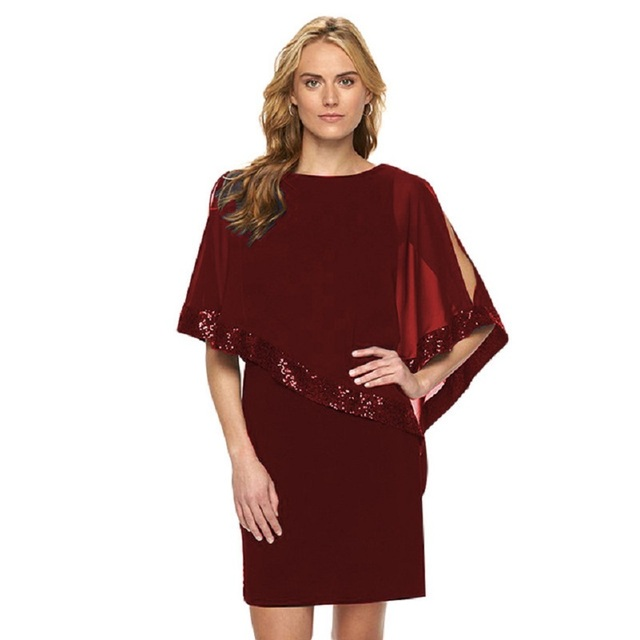 caeda3a8ea47 3XL Plus Size Women Spring Summer Dress Fashion Ruffle Sequins Cover Sleeve  Slim Pencil Dresses Party Work Office Dress Vestidos