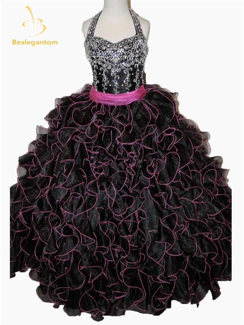 Bealegantom 2019 Hot New Little   Girls   Pageant   Dress   Halter Ball Gowns Beads Pleat   Flower     Girl     Dresses   Vestido De Daminha QA187