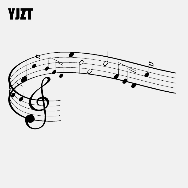 YJZT 17.6CM*8.4CM Music Notes Clef Rock Pop Song Singing Vinly Black/Silver Car Sticker C22-0600 image