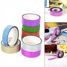 5M DIY Self-adhesive Glitter Washi Paper Tape Sticker Wedding Birthday Festival Decoration Home Decor