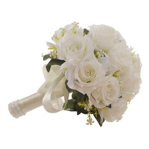Image 5 - Ramo de flores artificiales blanco para boda, hojas hechas a mano, flores de perlas, Ramos para dama de honor en boda