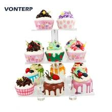 купить VONTERP 1 PC square 3 Tier Acrylic Cupcake Display Stand acrylic cake holder with base 3 Tier square (4.7 between 2 layers) дешево