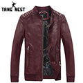 TANGNEST 2017 New Autumn Winter Men's Leather Jacket Fashion Casual Men PU Leather Jacket Warm Slim Windbreaker Jacket MWP338