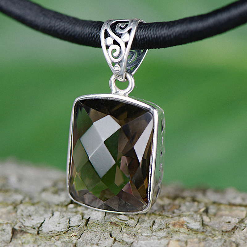 Real Pure 925 Silver Citrine Pendant For Women With Gemstones Faceted Vintage Thai Silver Fine Jewelry Pedras Naturais