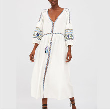 2019 Za Summer Women Cotton Linen Floral Embroideried Dress Za A-line Dresses Vestidos Print Women Clothing Vestidos(China)