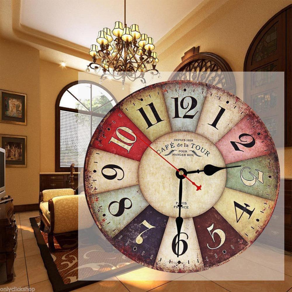 Wall clock shabby chic rustic retro kitchen home antique decor decor