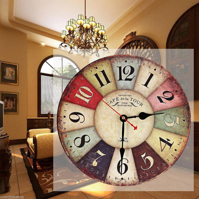 Vintage Wooden Wall Clock Shabby Chic Rustic Retro Kitchen Home Antique  Decor Decor Kitchen Wall Clocks