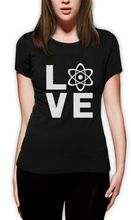 I Love Science – Gift for Scientist Genius Women T-Shirt Geeky Custom Print Casual O-Neck Top Tee 100% Cotton Short Sleeve